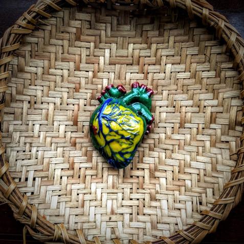 Brazilian Bleeding Heart, glass and indigenous basket, d:22cm (heart: 6 x 4 x 2cm), 2019.