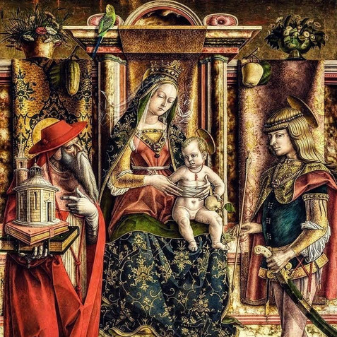 Nossa Senhora da Periquita, Less Alone of her Sex (Madonna of the She-Parakeet), after Carlo Crivelli's Madonna of the Swallow, digital techniques, d: variable, 2020.