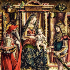 Nossa Senhora da Periquita, Less Alone of her Sex (Madonna of the She-Parakeet), after Carlo Crivelli's Madonna of the Swallow, digital techniques, d: variable, 2020.  Edition of 20, £200.