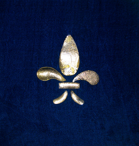 Nobility, 2010, silk velvet, 24c gold, glass, 30cm x 30cm