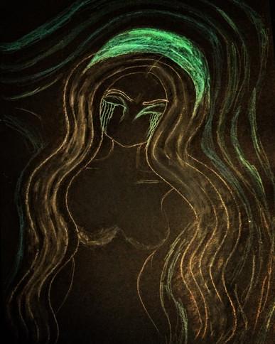 Grieving Medusa, 2021, crayon on paper, A3_