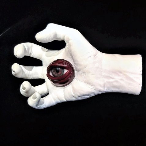 Stigmata Eyes (left), gesso and glass, d: variable, 2019.