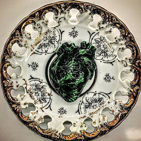 Amazon Heart (Green Palpitation), 1950s Japanese reticulated porcelain saucer, d: 12cm, 2018. £250 Private collections, London and USA.