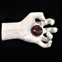 Stigmata Eyes (Right), gesso and glass, d: variable, 2019. Reserved.