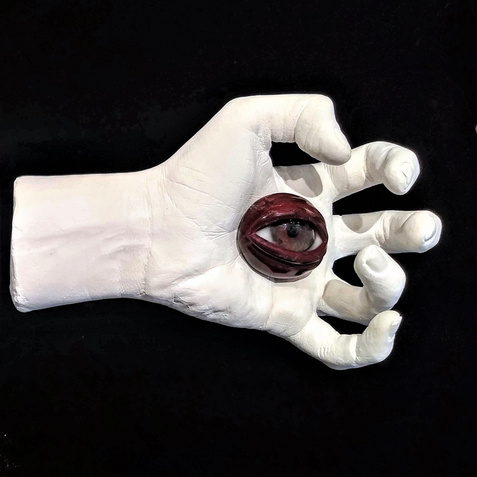 Stigmata Eyes (Right), gesso and glass, d: variable, 2019.