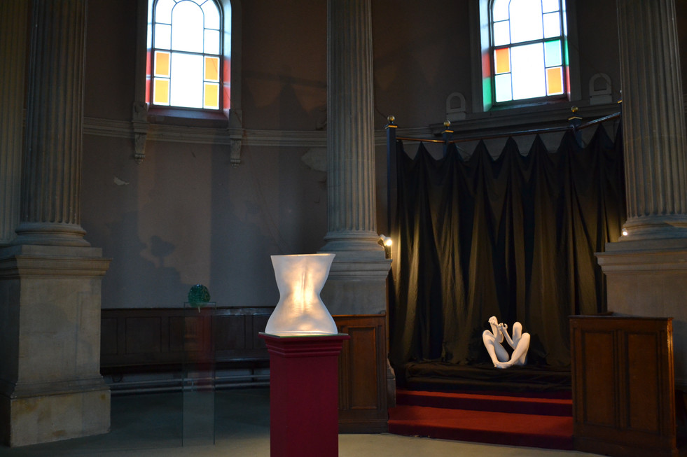 Minotaurs of the Mind on display at Brompton Cemetery Chapel.