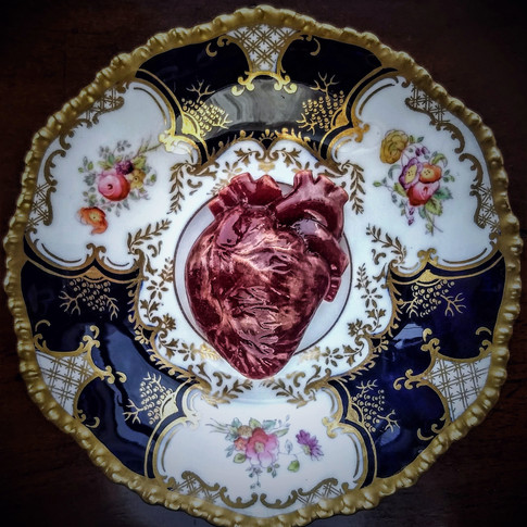 Red Heart, Edwardian saucer (Coalport, 'batwing' pattern), d: 13cm, 2017. £250  The red glssheart is a popular multiple piece and features in collections across the UK, USA, Brazil, Belgium, and Finland.