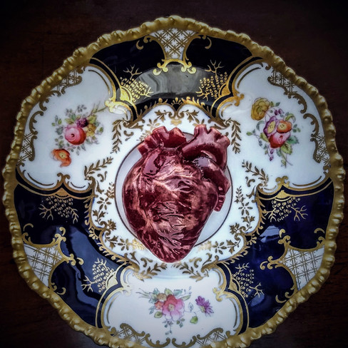 Red Palpitation, glass and Edwardian saucer, d: 13cm, 2018.
