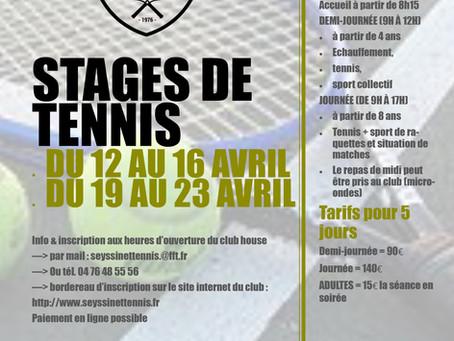 [stages tennis] Inscriptions pour les vacances de Pâques