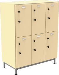 Meuble 6 cases beige 90x115cm porte à clé roulettes