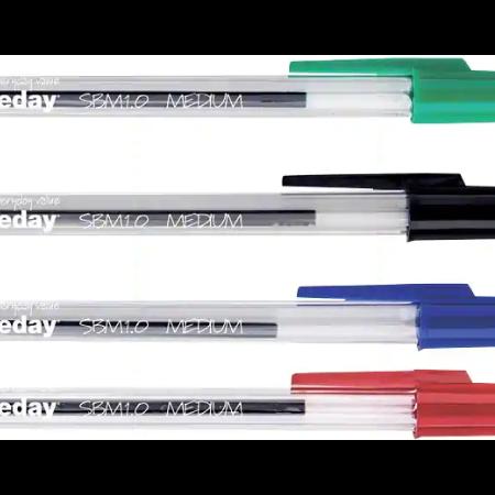 Stylo bille Niceday SBM1.0 noir bleu rouge vert 10 pièces