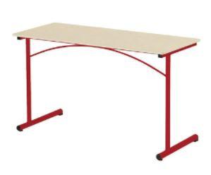 Table130 x 50 cm, chants surmoulés, T6, plateau beige, piètement rouge