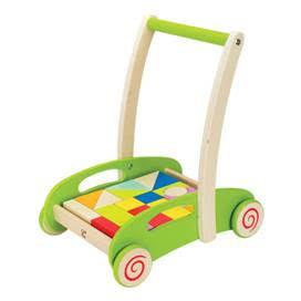 Chariot à pousser en bois avec blocs construction