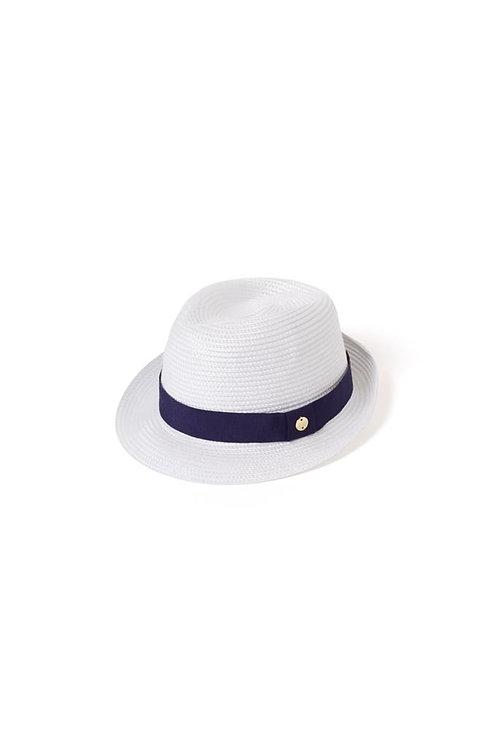 Melissa Odabash Eva Hay CR White & Navy Hat