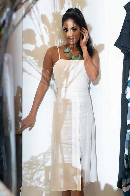 Off White Knee Length Linen Dress