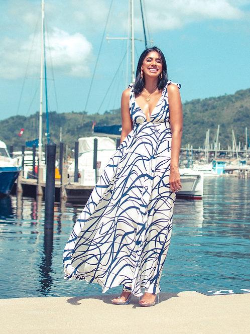 Blue White Maxi Long Dress