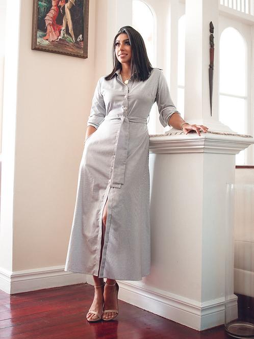 Grey White Stripe Long Dress