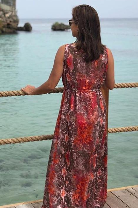 BC- Pink & Brown Long Sleeveless Coverup
