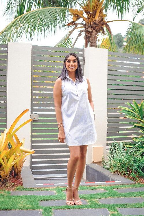 BC Grey & White Stripe Sleeveless Dress