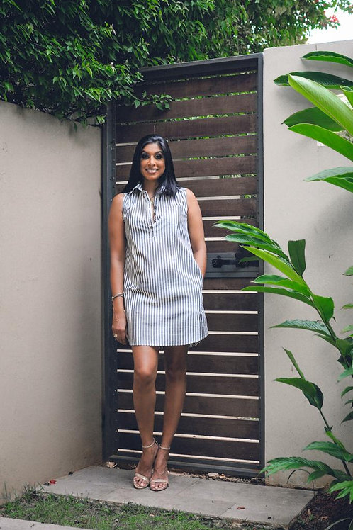 BC Dark Grey & White Stripe Sleeveless Dress