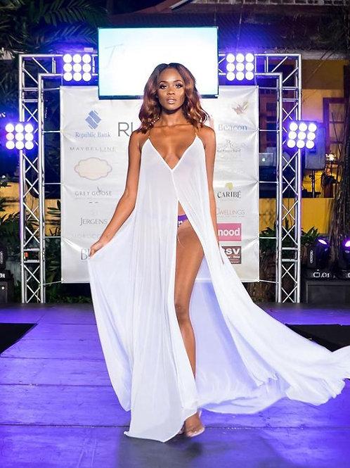 JM White Long Dress- Gold Straps