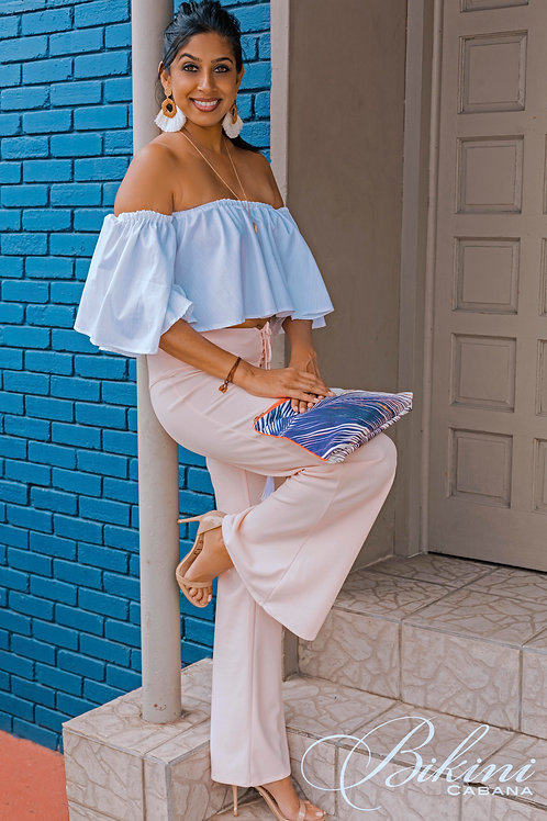 Long Blush Pink Pants with White Tassels