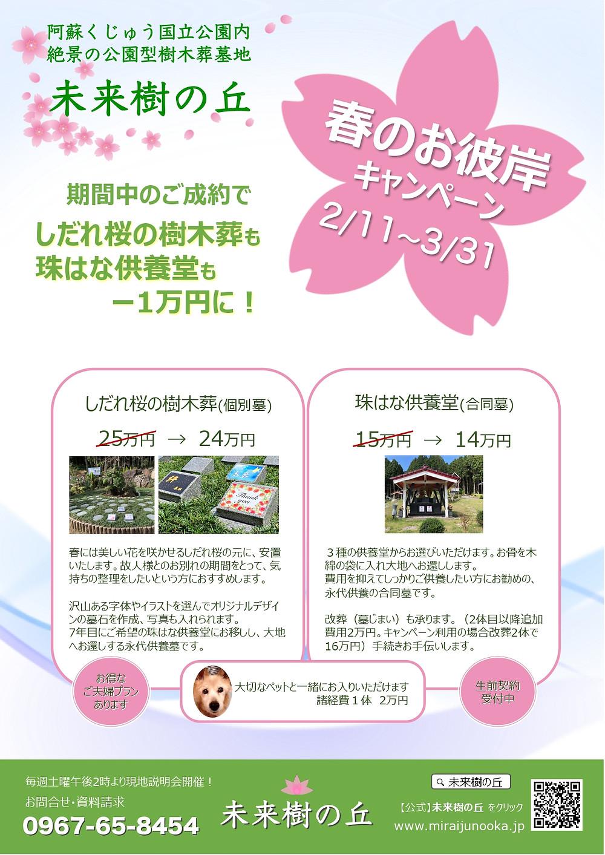 春のお彼岸キャンペーン実施中! 2/11~3/31
