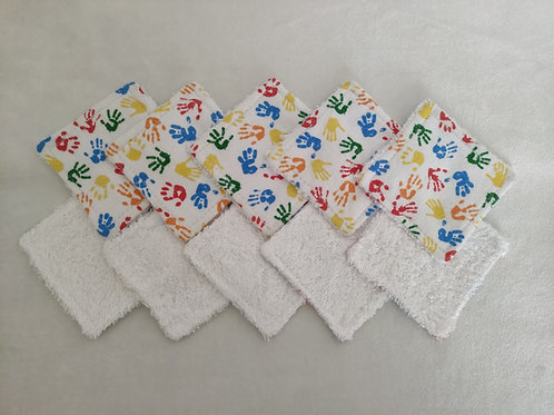 Set of 10 cotton and bamboo make up remover wipes. Handprints design.