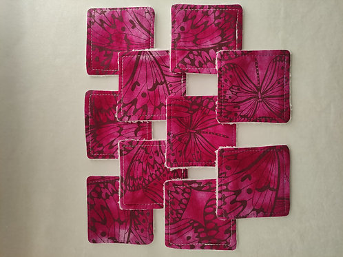 Set of 10 cotton and bamboo make up remover wipes. Purple butterfly pattern.