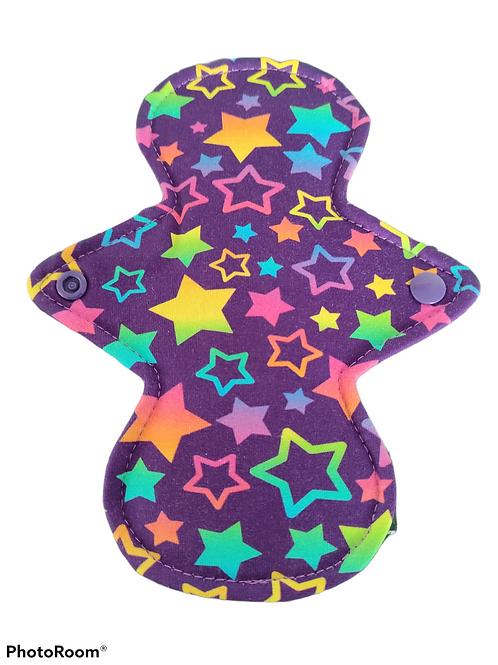 "8"" Jersey Light flow cloth pad. Rainbow stars"