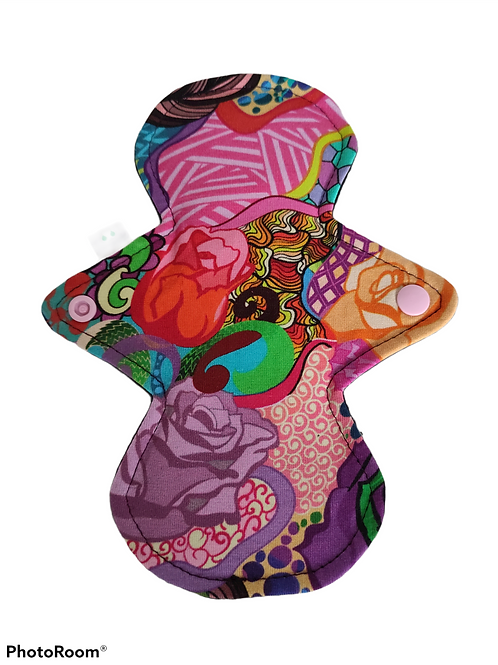 """8"""" Jersey Light flow cloth pad. Colourful roses"""