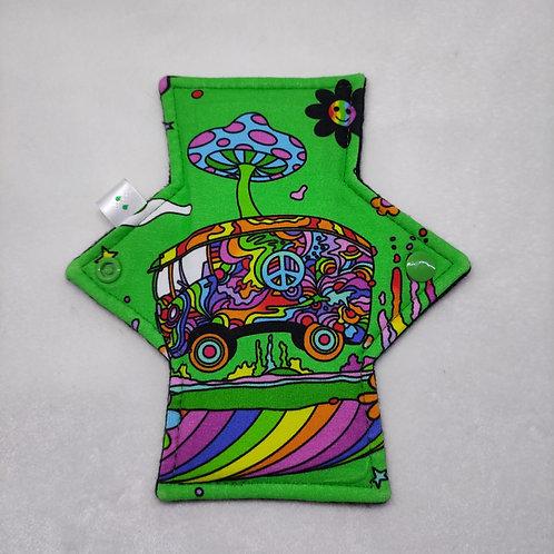 "7"" Jersey Light flow cloth pad. Hippy trippy van. Green"