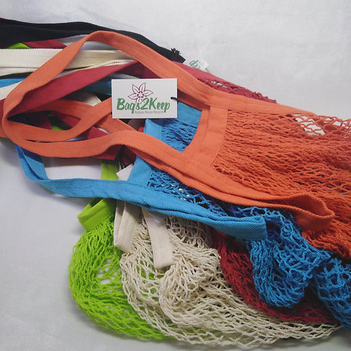 Long handled recycled cotton string bags.