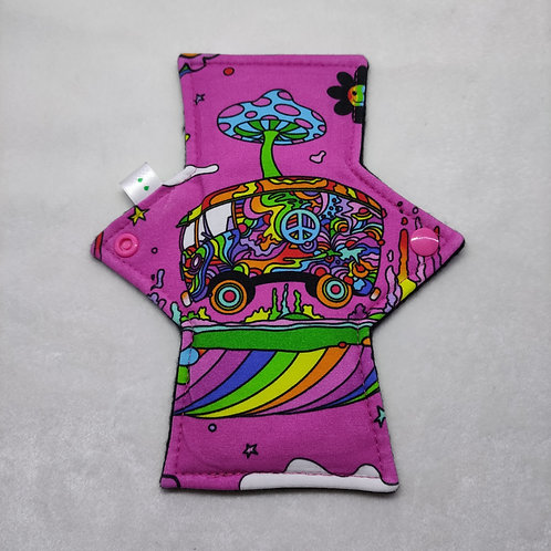 "8"" Jersey Light flow cloth pad. Hippy trippy van. Pink"