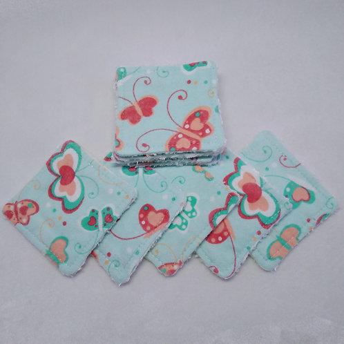 Set of 10 patterned flannel make up remover wipes.