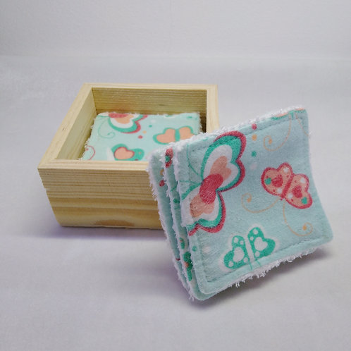 Set of 10 Organic Bamboo towelling make up remover wipes in a wooden storage box