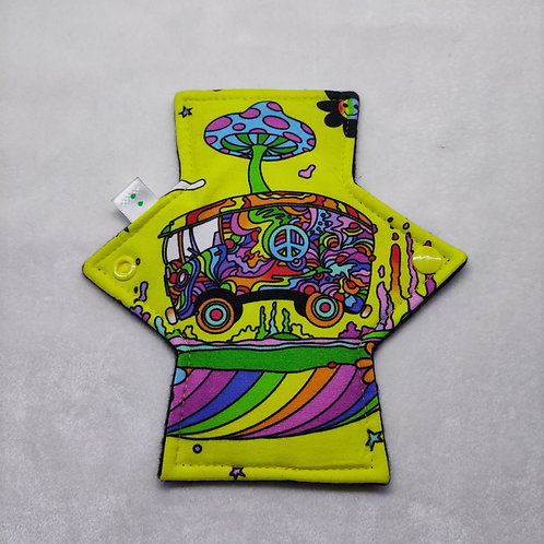 Jersey Light flow cloth pad. Hippy trippy van. Yellow