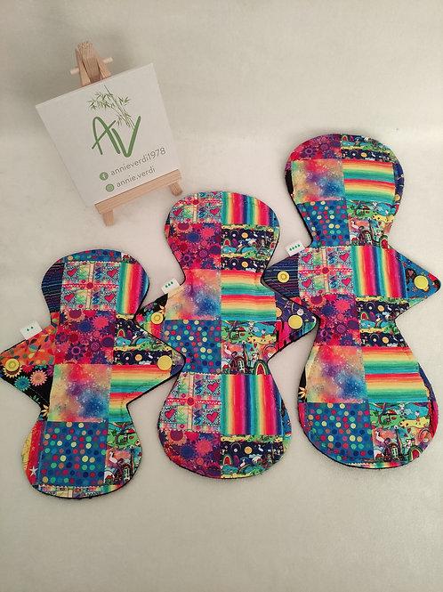 "Cloth pads starter set, 8"" light, 10"" regular and 12"" heavy"