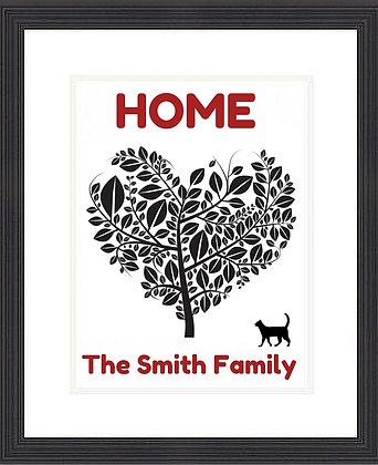 HOME HEART TREE WITH CAT FRAMED PRINT