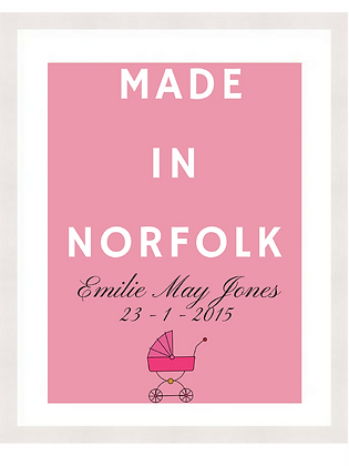 NEW BABY - MADE IN NORFOLK - ROSE