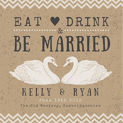 WEDDING INVITATION SWANS RUSTIC