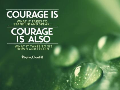Courage is what it takes .......