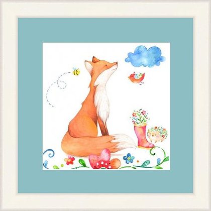 Framed Print Happy Fox