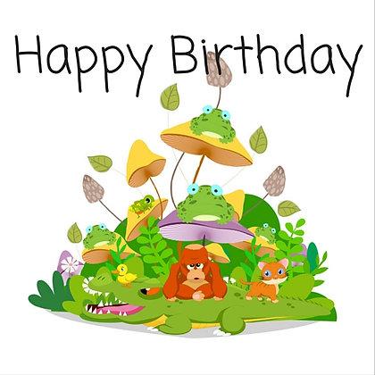 FRIENDLY JUNGLE HAPPY BIRTHDAY CARD