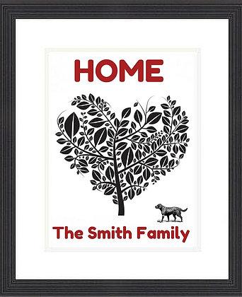 HOME HEART TREE FRAMED PRINT- DOG