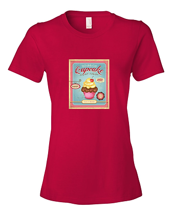 Ladies Summer Tee Shirt Vintage Cupcake Logo