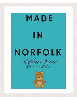 NEW BABY - MADE IN NORFOLK - TEAL