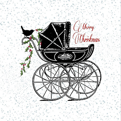 Vintage Style Card Pram with Bird and Holly