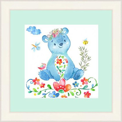 Framed Print Floral Bear
