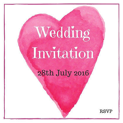 WEDDING INVITATION PINK HEART